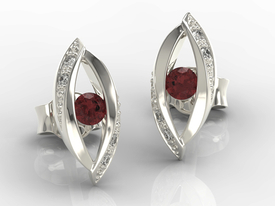 Diamonds & garnets 14ct white gold earrings LPK-60B