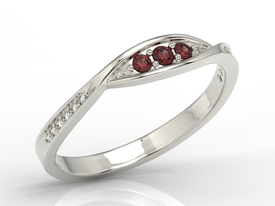 Diamonds & garnets 14ct white gold ring AP-97B