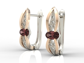Diamonds & garnets 14ct white & pink gold earrings LPK-39BP