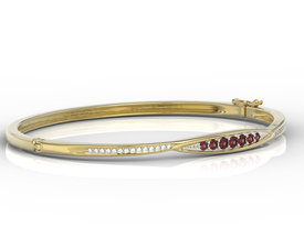 Diamonds & garnets 14ct yellow gold bracelet  APBr-97Z-R