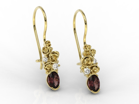 Diamonds & garnets, 14ct yellow gold earrings APK-39Z