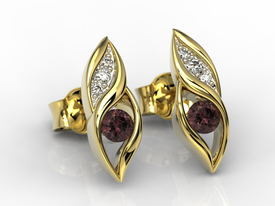 Diamonds & garnets 14ct yellow gold earrings APK-51Z-R