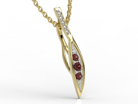 Diamonds & garnets 14ct yellow gold pendant APW-97Z-R