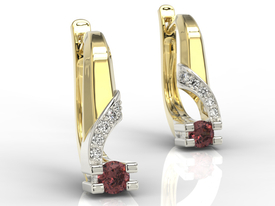 Diamonds & garnets 14ct yellow & white gold earrings JPK-66ZB