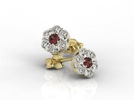 Diamonds & garnets 14ct yellow & white gold earrings JPK-87ZB