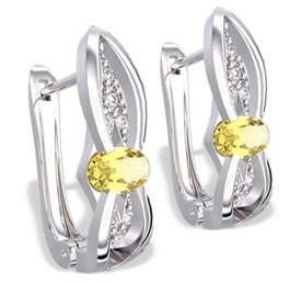 Diamonds & lemons 14ct white gold earrings LPK-39B