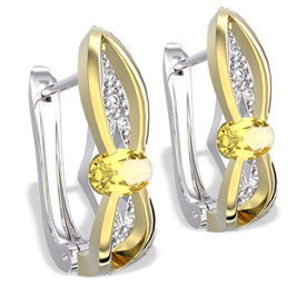 Diamonds & lemons 14ct white & yellow gold earrings LPK-39BZ