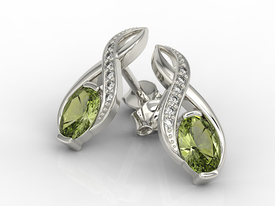 Diamonds & olivines 14 ct white gold earrings APK-69B  on a stick