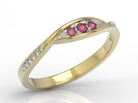 Diamonds & rubis 14ct gold ring AP-97Z-R