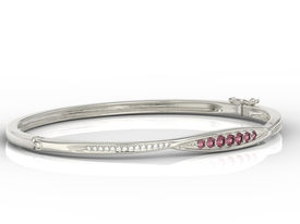 Diamonds & rubis 14ct white gold bracelet  APBr-97B