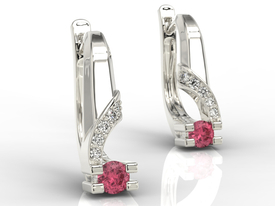 Diamonds & rubis 14ct white gold earrings JPK-66B