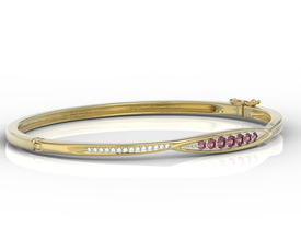 Diamonds & rubis 14ct yellow gold bracelet  APBr-97Z-R