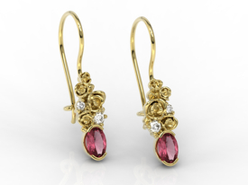 Diamonds & rubis, 14ct yellow gold earrings APK-39Z