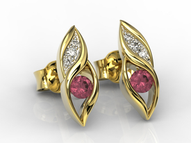Diamonds & rubis 14ct yellow gold earrings APK-51Z-R