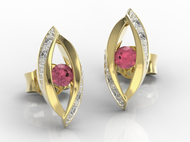 Diamonds & rubis 14ct yellow gold earrings LPK-60Z-R