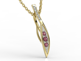 Diamonds & rubis 14ct yellow gold pendant APW-97Z-R