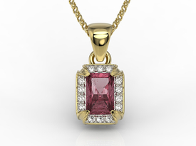 Diamonds & rubis 14ct yellow gold pendant LPW-84Z