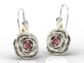 Diamonds & rubis 14ct yellow / white gold earrings in the shape of a rose APK-95BZ