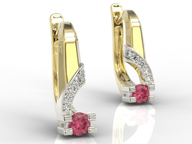 Diamonds & rubises 14ct yellow & white gold earrings JPK-66ZB