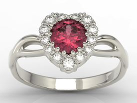 Diamonds & ruby 14 ct white gold ring in the shape of a heard AP-77B