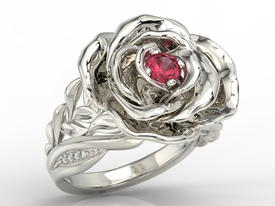 Diamonds & ruby 14 ct white gold ring in the shape of a rose  AP-95B