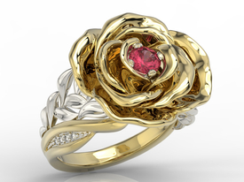 Diamonds & ruby 14 ct yellow & white gold ring in the shape of a rose  AP-95ZB
