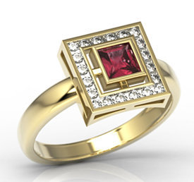 Diamonds & ruby 14ct gold LP-68Z