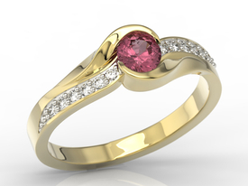 Diamonds & ruby 14ct gold engagement ring AP-6139Z-R
