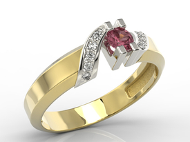 Diamonds & ruby 14ct gold ring JP-66ZB
