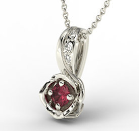 Diamonds & ruby 14ct white gold pendant LPW-4221B