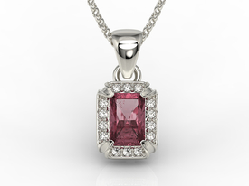 Diamonds & ruby 14ct white gold pendant LPW-84B