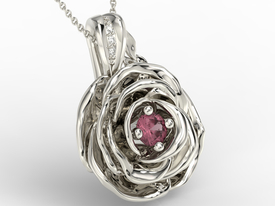 Diamonds & ruby 14ct  white gold pendant in the shape of a rose APW-95B