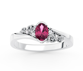 Diamonds & ruby 14ct white gold ring AP-39B 0,03 ct