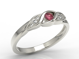 Diamonds & ruby 14ct white gold ring AP-51B