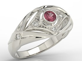 Diamonds & ruby 14ct white gold ring AP-9908B