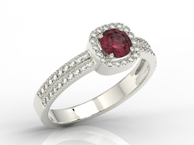Diamonds & ruby 14ct white gold ring BP-52B