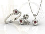 Diamonds & ruby 14ct white gold ring JP-87B