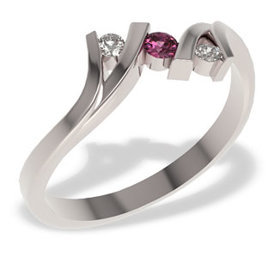 Diamonds & ruby 14ct white gold ring LP-21B-RUB/D