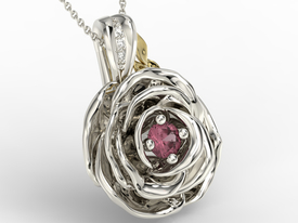 Diamonds & ruby 14ct  white & yellow gold pendant in the shape of a rose APW-95BZ