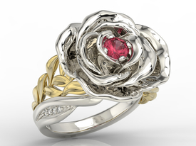 Diamonds & ruby 14ct white & yellow gold ring in the shape of a rose  AP-95BZ