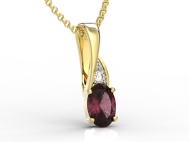 Diamonds & ruby 14ct yellow gold pendant APW-60Z-R