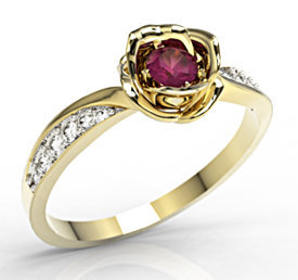 Diamonds & ruby 14ct yellow gold ring in the shape of a rose LP-4221Z-R