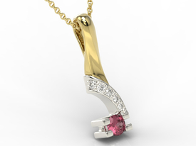 Diamonds & ruby 14ct yellow & white gold pendant JPW-66ZB