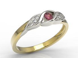 Diamonds & ruby 14ct yellow & white gold ring AP-51ZB