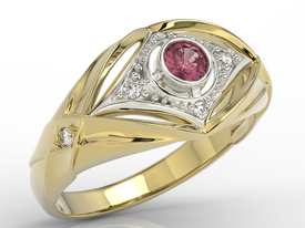 Diamonds & ruby 14ct yellow & white gold ring AP-9908ZB