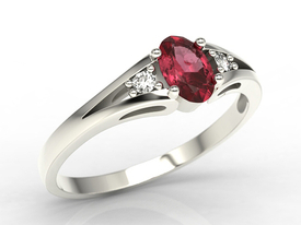 Diamonds & ruby white gold ring JP-22B
