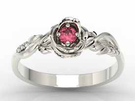 Diamonds & ruby white gold ring in the shape of rose LP-7715B