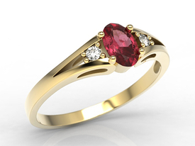 Diamonds & ruby, yellow gold ring JP-22Z