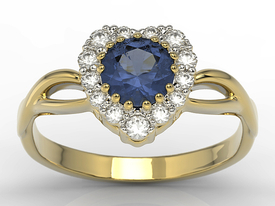Diamonds & sapphire 14 ct yellow gold ring in the shape of a heard AP-77Z