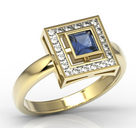 Diamonds & sapphire 14ct gold LP-68Z